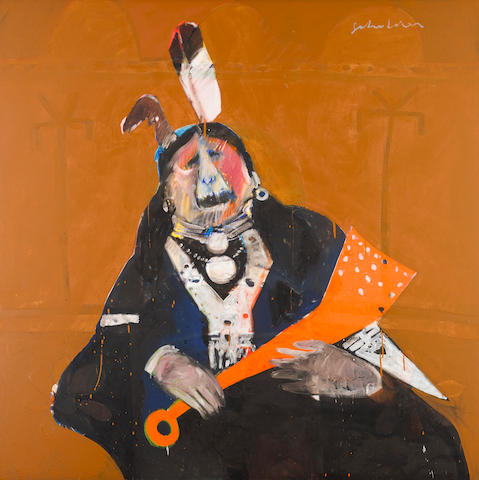 "Bonhams Lot 334  A FRITZ SCHOLDER PAINTING, ""SCREAMING INDIAN"", 1970  US$ 50,000 - 70,000"