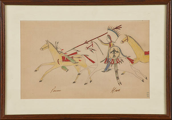Kiowa ledger drawing, late 19th century