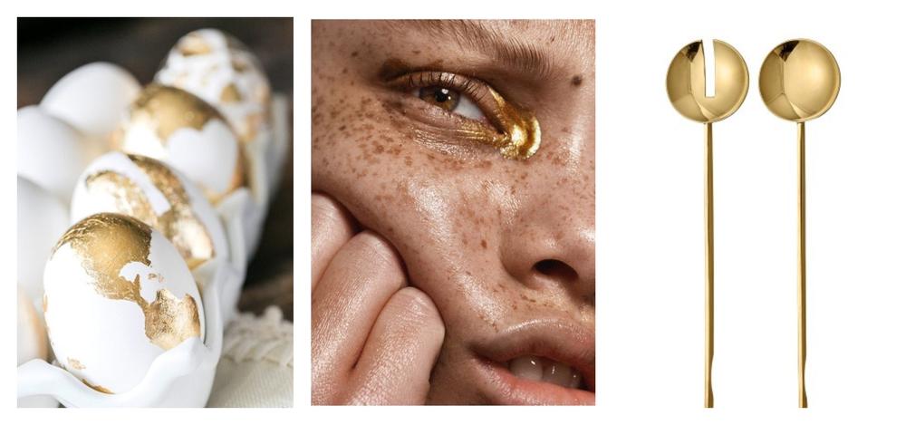 Vasemmalta oikealle: 1. Kultaisiksi sudittuja kananmunia, kuva: Apartment Therapy, 2.Malli Aleece Wilson (Elite) kuva: CARLOS+ALYSE 3. AYTM messinkiset salaattiottimet