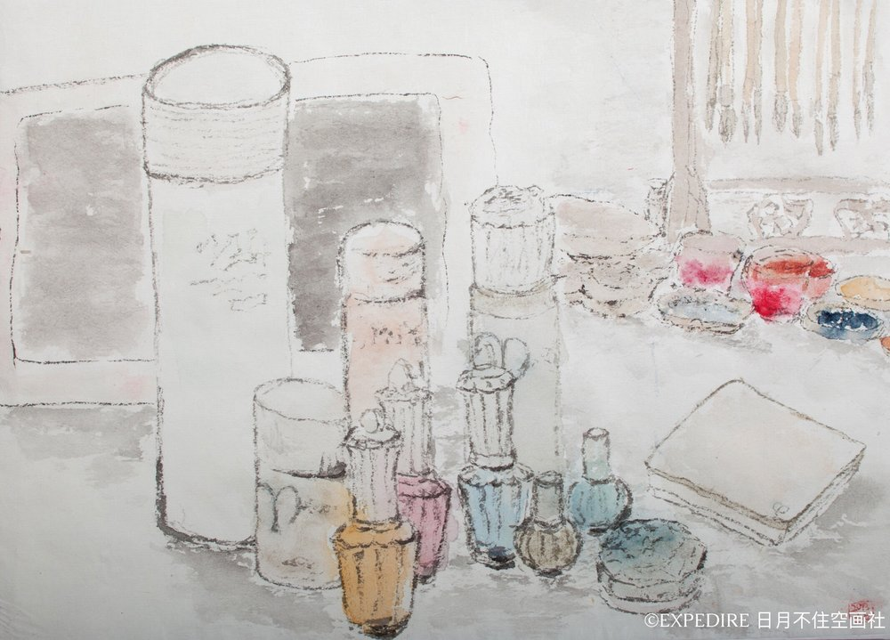 Tribute to Morandi  Ink and colour on paper  2013
