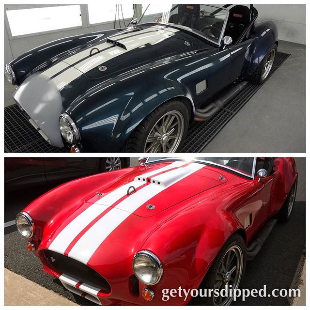 Before and after '65 Shelby Cobra (kit) #autoflex Rosso Corsa Red with twin strips #photo #color #red #dipyourcar #sprayednotlaid