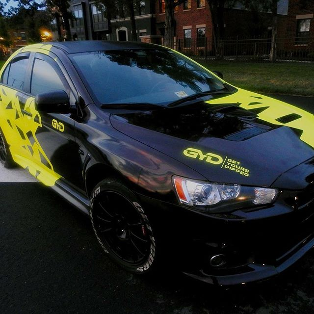The #GYD Evo wrapped in Polaris yellow engulfed by a thermochromic black. All done in #autoflex. Looks better than real paint and it peels off. #getyoursdipped #va #tss @kppigments #tssalliance #thespraysource #autopaint #liquidwrap #plastidip #autoflex coatings #dipyourcar #prohse #dipyourcar #ppgpaint #refinisherporn #autobody  #cardip #p1coatings #prohse #ecohse #ecotse #spraygun  #pearlsandpigments #refinisherporn #refinisher  #proline  #art #autobody #automotive