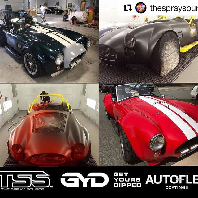 #Repost @thespraysource (@get_repost) ・・・ Amazing transformation on this 1965 AC Cobra (kit) . Custom Ferrari Rosso Corsa red done in @autoflexcoatings with white racing stripe! Installed by Alan Mitchell for Get yours dipped in va ( @mikegyd )Perfectly sprayed using the spray source #ecohse gun for base and the #prohse gun for the finishing gloss. Looks better than real paint and it peels off. Crazy what is possible with the right products and tools! For the EcoHSE and ProHSE gun package deal please visit our site www.thespraysource.com !! #getyoursdipped #va #tss #tssalliance #thespraysource #autopaint #liquidwrap #plastidip #autoflex coatings #dipyourcar #prohse #dipyourcar #ppgpaint #refinisherporn #autobody  #cardip #p1coatings #prohse #ecohse #ecotse #spraygun  #pearlsandpigments #refinisherporn #refinisher  #proline  #art #autobody #automotive