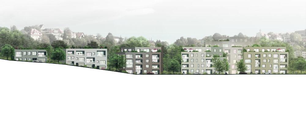 Facade development..Fassadenabwicklung