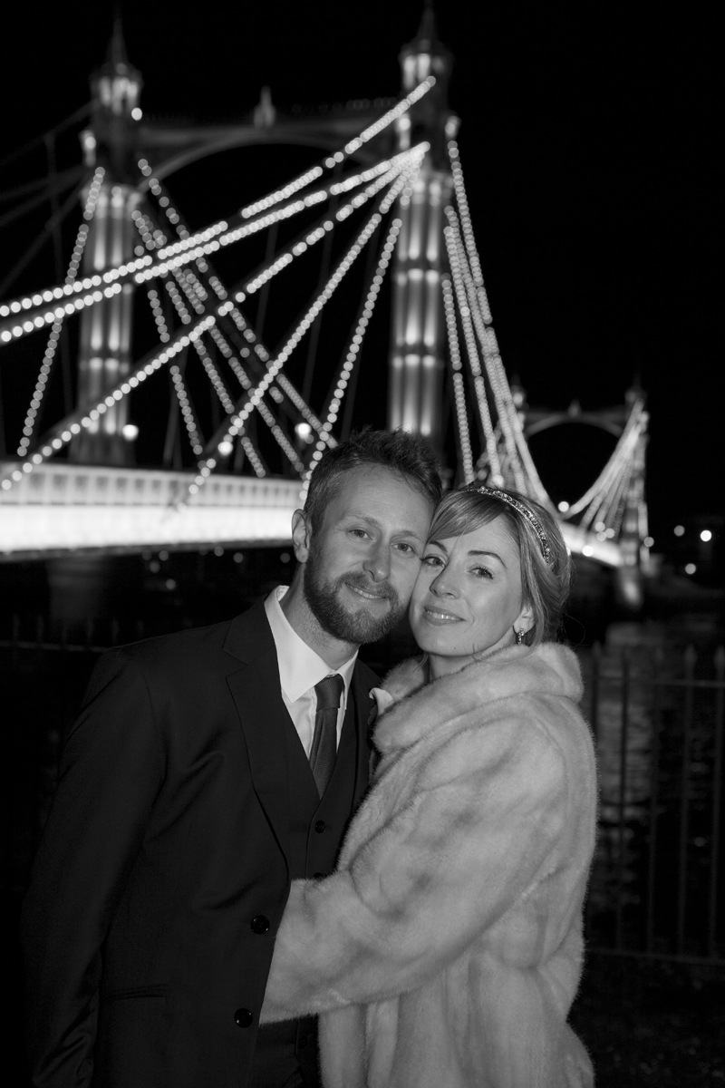 Winter wedding Albert Bridge