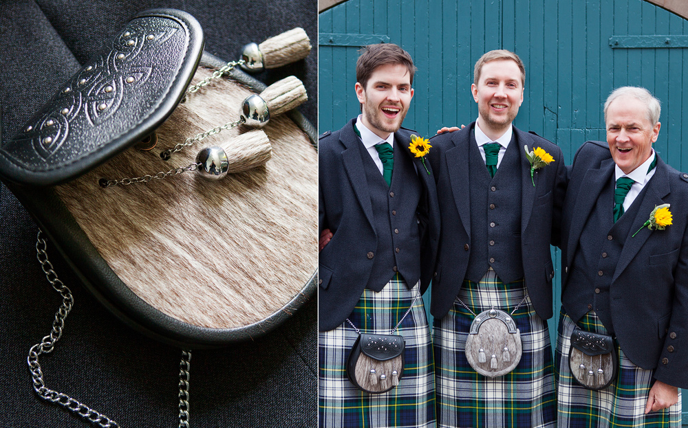 Men in kilts at wedding in Highlands