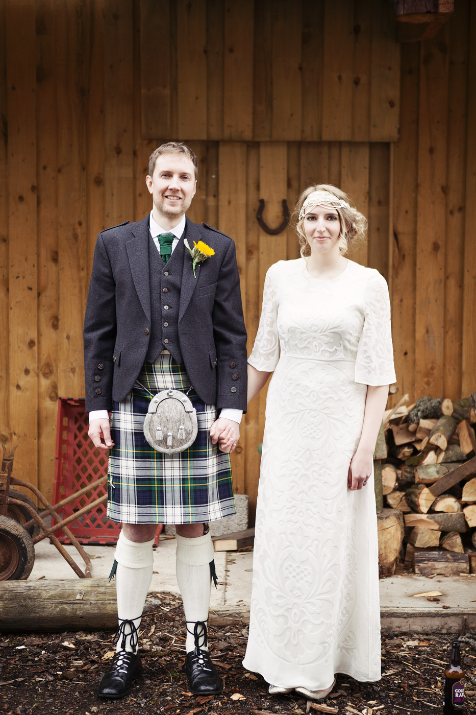 Bride and groom at the Byre