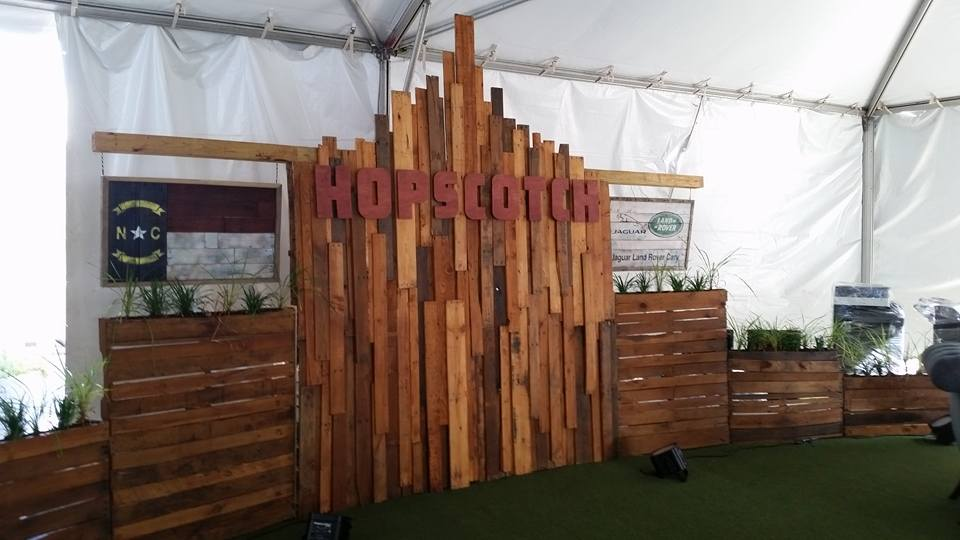 Display wall for 2015 Hopscotch Festival VIP tent