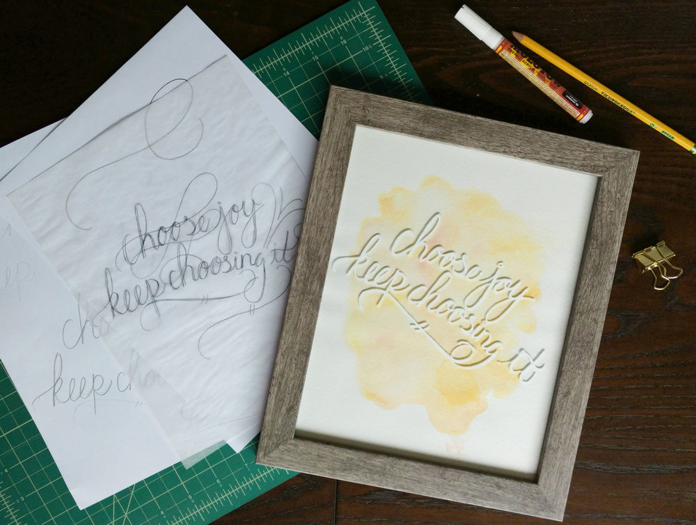 Sketches and final piece from Kristie Len's hand lettering on glass workshop.