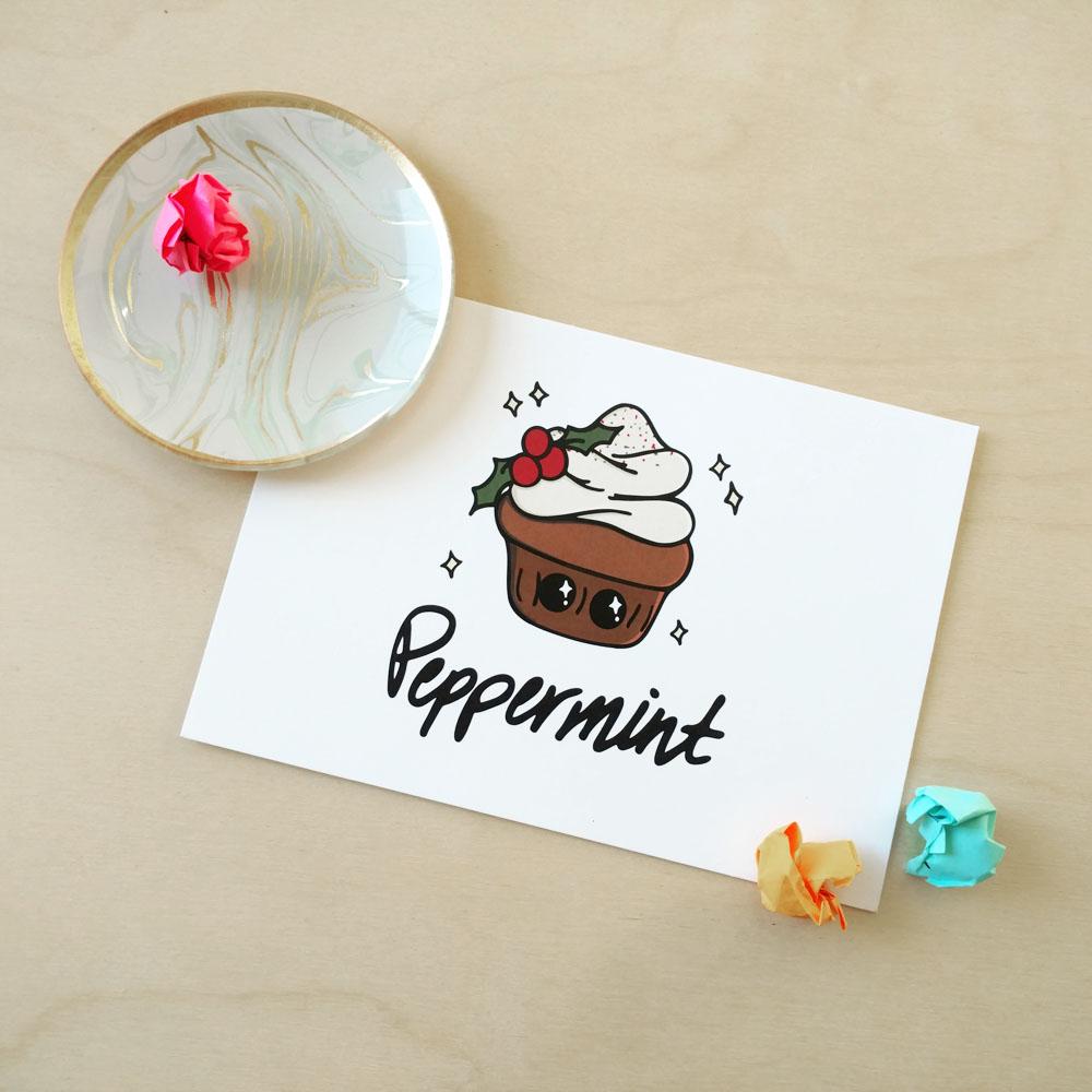 Festive Peppermint Cupcake 5x7 Print