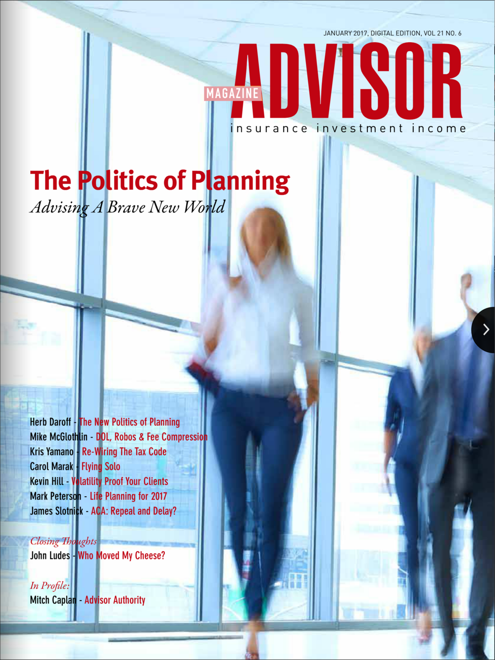 Advisor Magazine   Article Title - 'Possibilities of Success: An integrity self-test for leaders'    CLICK HERE TO READ ARTICLE