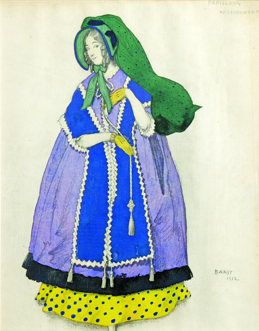 Leon Bakst, Design for the Girl in a mauve Dress in 'Papillons', 1912