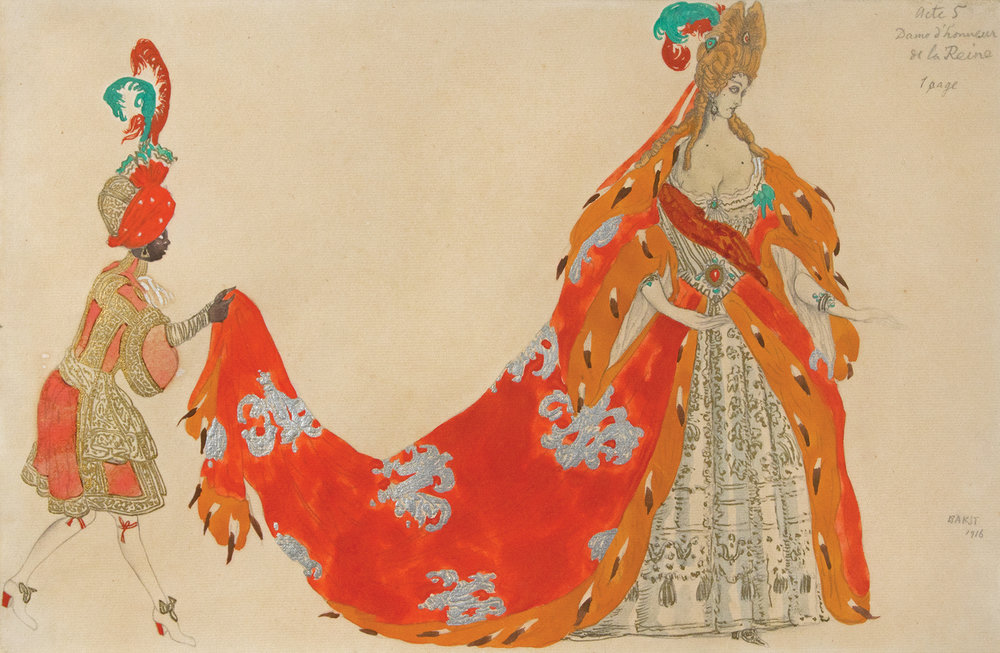 Leon Bakst. Dame de Cour et son Page in 'Sleeping Princess' 1916