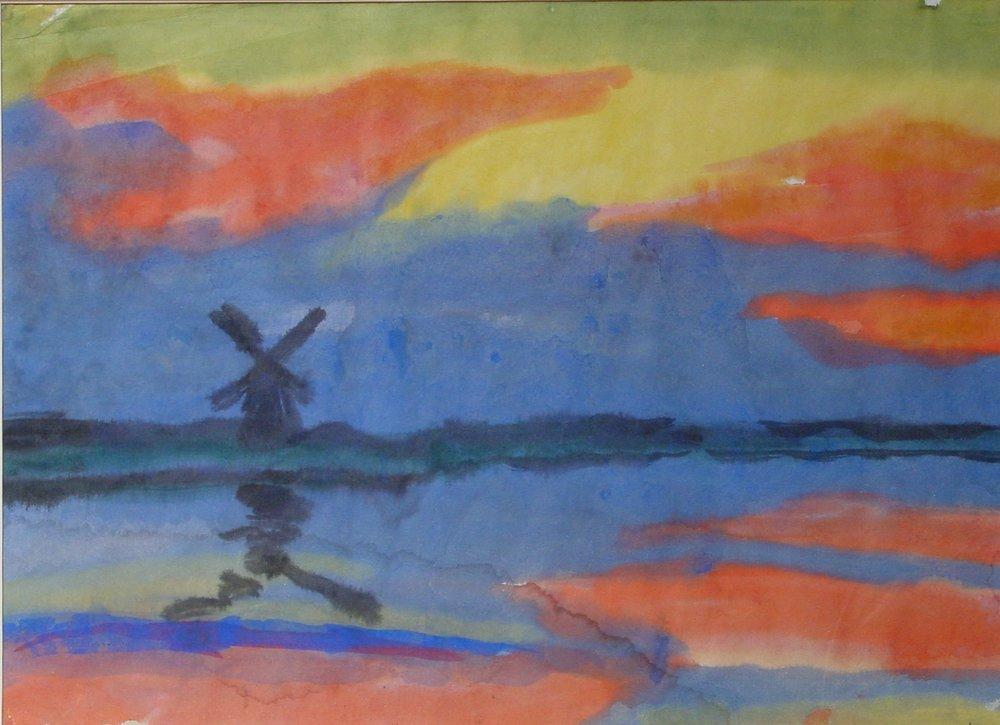 Emile Nolde, Landschafts mit Windmuhle vor Abendhimmel, 1920-25