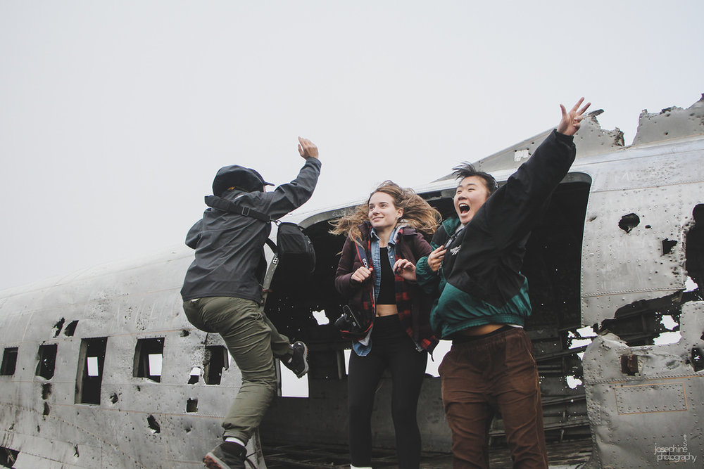 Jumping out of the Sólheimasandur plane wreck.