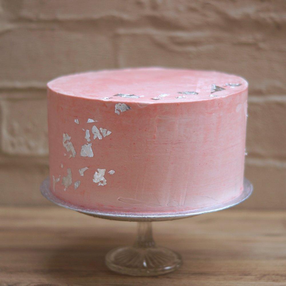 silver leaf engagement cake