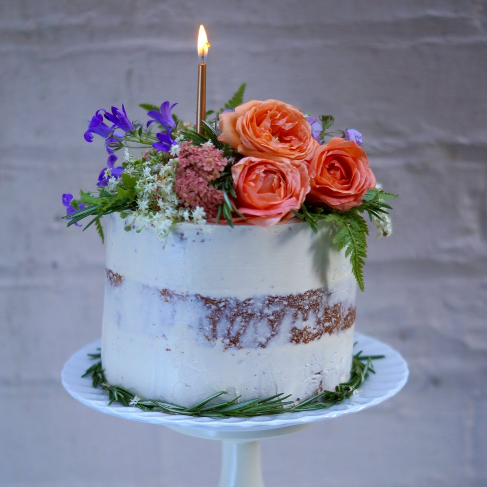 peachy floral birthday cake