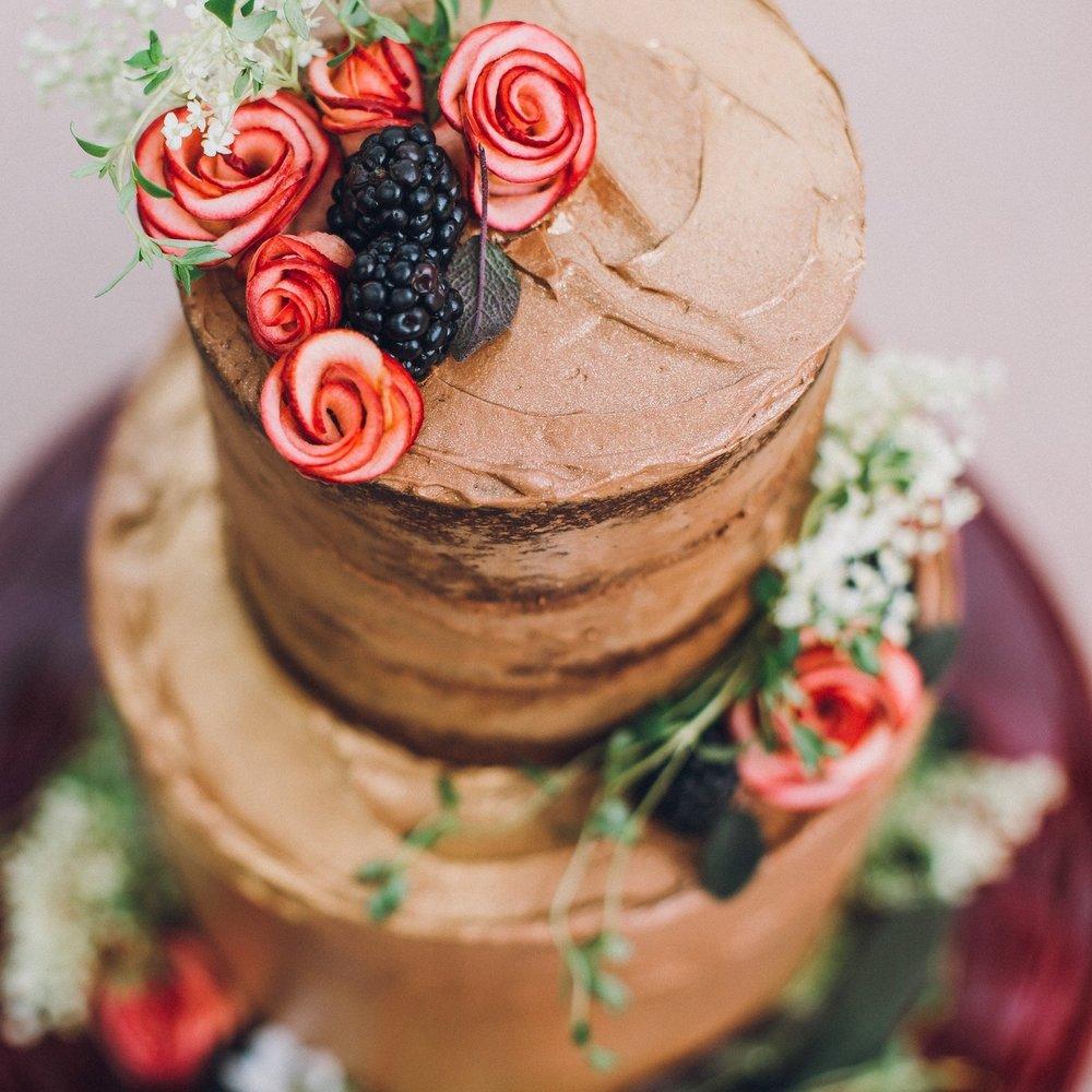 Chocolate, blackberry & apple cake