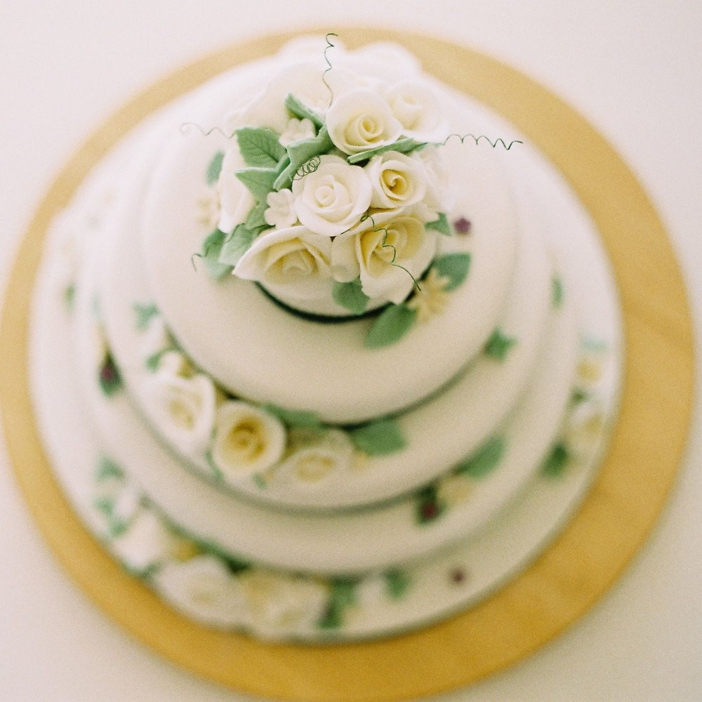 traditional fruit cake with sugar blooms