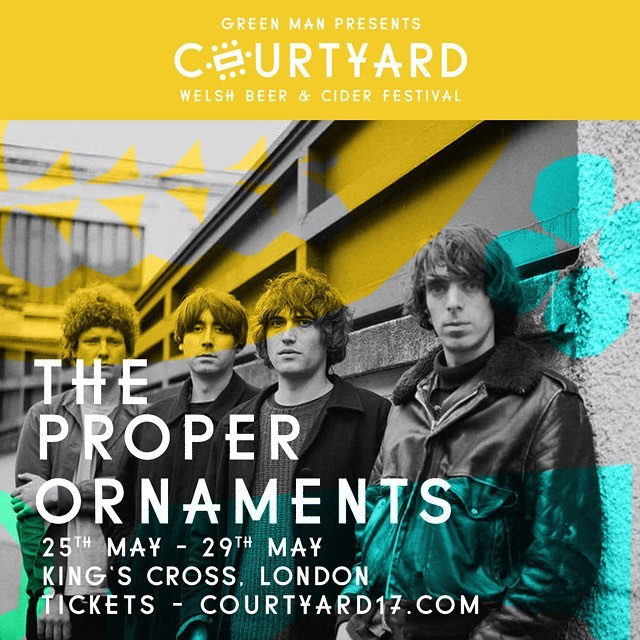 The side project of Ultimate Painting's James Hoare and Toy's Max Oscarnold, the Proper Ornaments take their love of 60's pop music to ever endearing heights. They will transport you somewhere else completely whilst you sup on a very strong Welsh cider! They play Saturday 27th May. Tickets on sale now. GM x 🍻