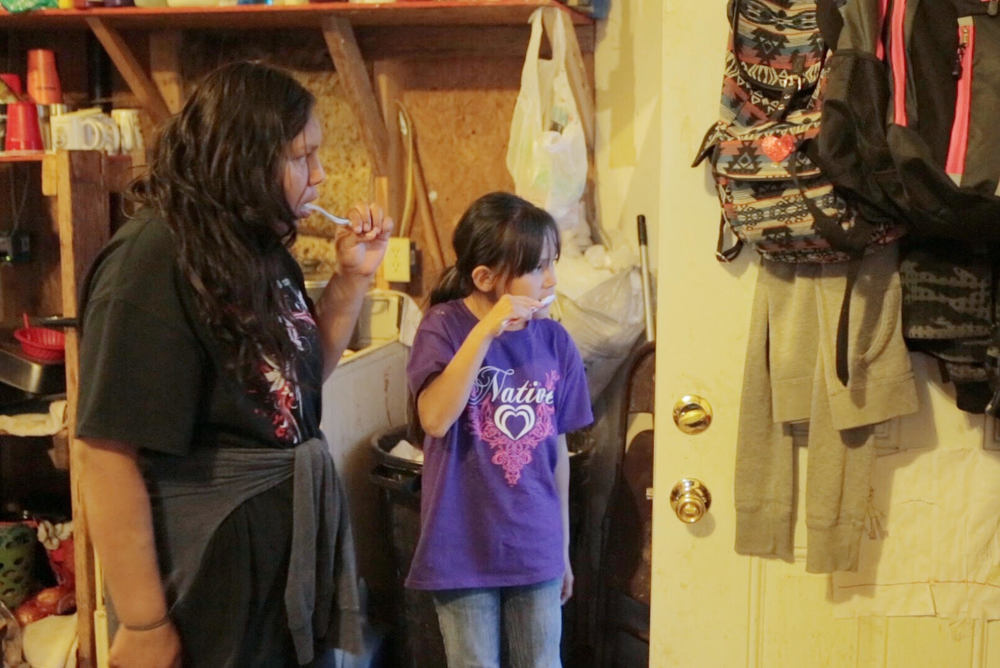 Baby Lisa's brothers and sisters don't have a sink, a shower or a toilet... so they use a bucket and a shelf as a 'bathroom.' Because of Baby Lisa's special medical needs, this isn't an option for her. About 40% of Navajo-American kids living on the reservation don't have running water.