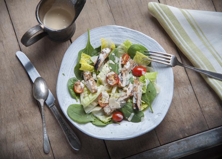 Spinach Caesar Salad with Balsamic Chicken