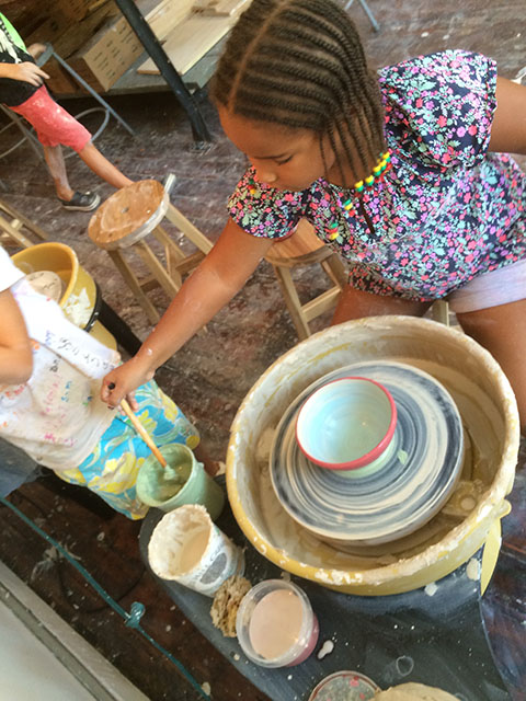 Mondays for older kids: Design Lab 4:30- 6:00, ages 10-14 This class is specifically for older kids (though no experience is necessary). Looking and learning about contemporary artists who work with clay, kids will create paintings and sculptures using clay, colored slip, and glazes.  They will make ceramic wall paintings, tiles, and 3-D sculptures inspired by artists like Betty Woodman and Isamu Noguchi.  Kids will also use the wheels, slab roller and extruder.  Taught by McKendree Key & Ash Donnelly. 19 sessions,  $855 (there is an option to pay in two installments) Sibling discounts available. BOOK NOW