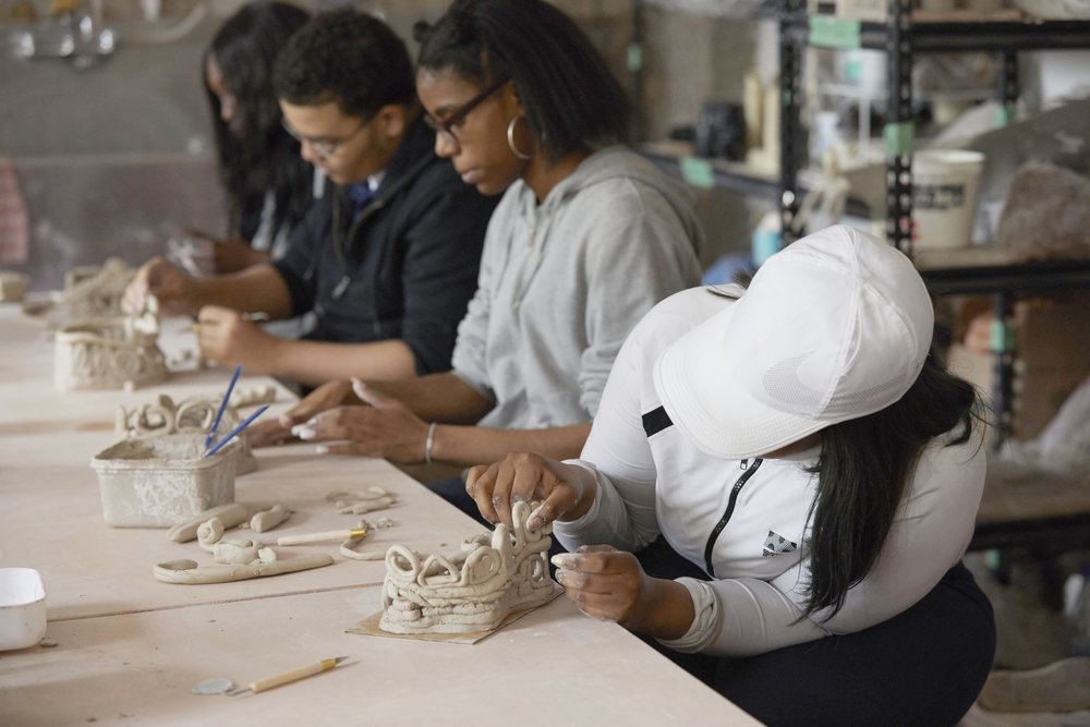 Partnership withBedford Academy High School - Currently, though the school is a dynamic, well-supported learning environment, students at BAHS do not have access to funding for visual arts programming as part of their curriculum. Seventy five percent of the student body comes from low- income households. Artshack partners with the school to provide ongoing ceramics art courses.This program runs during school hours, and students receive academic credit for the class. These students gain an opportunity to explore and develop their artistic voices through the tactile medium of ceramics.To help us fund this program donate here.