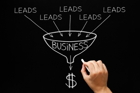 54161036 - hand drawing lead generation business funnel concept with white chalk on blackboard.