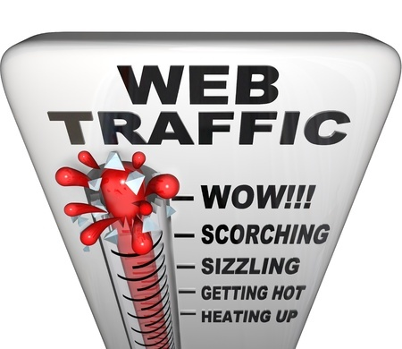 9326236 - a thermometer with words web traffic