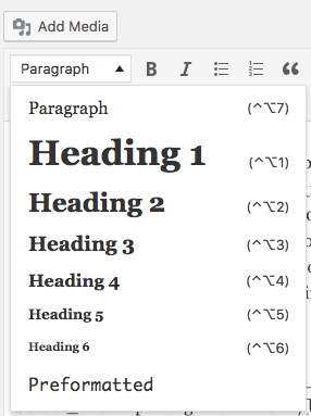 H1 tag- Think of this as chapter titles in a book. A properly structured H1 tag with the page keyword makes it simple for search engines to figure out what your page is about. In WordPress you simply click the drop down and select Heading 1.                                                                   In HubSpot you click Style⇒Formats⇒Headings⇒Heading 1. - H1 tag- Think of this as chapter titles in a book. A properly structured H1 tag with the page keyword makes it simple for search engines to figure out what your page is about. In WordPress you simply click the drop down and select Heading 1.                             In HubSpot you click Style⇒Formats⇒Headings⇒Heading 1.