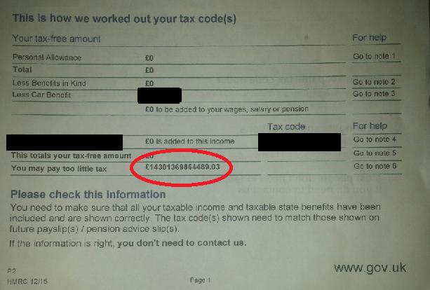 Tax Bill close up