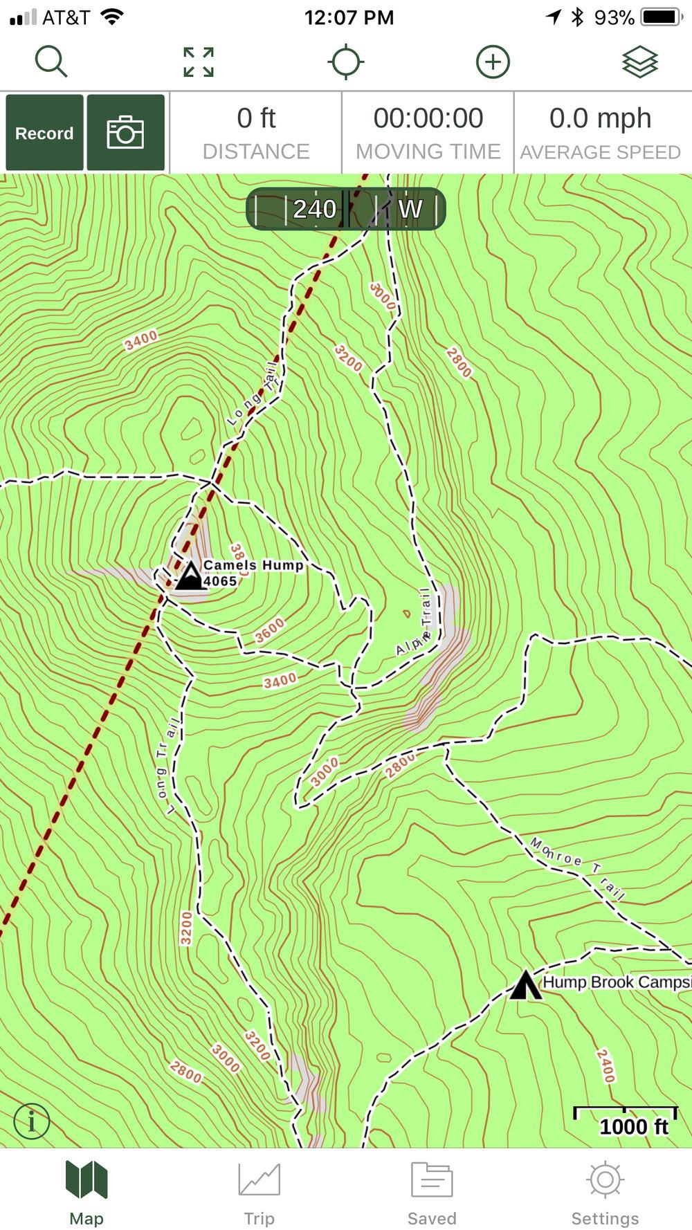 Screenshot from Gaia GPS mobile app
