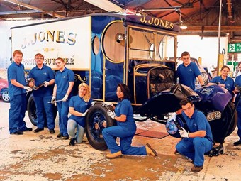 The platform of Ford apprentices who worked on the 1935 Ford BB van.