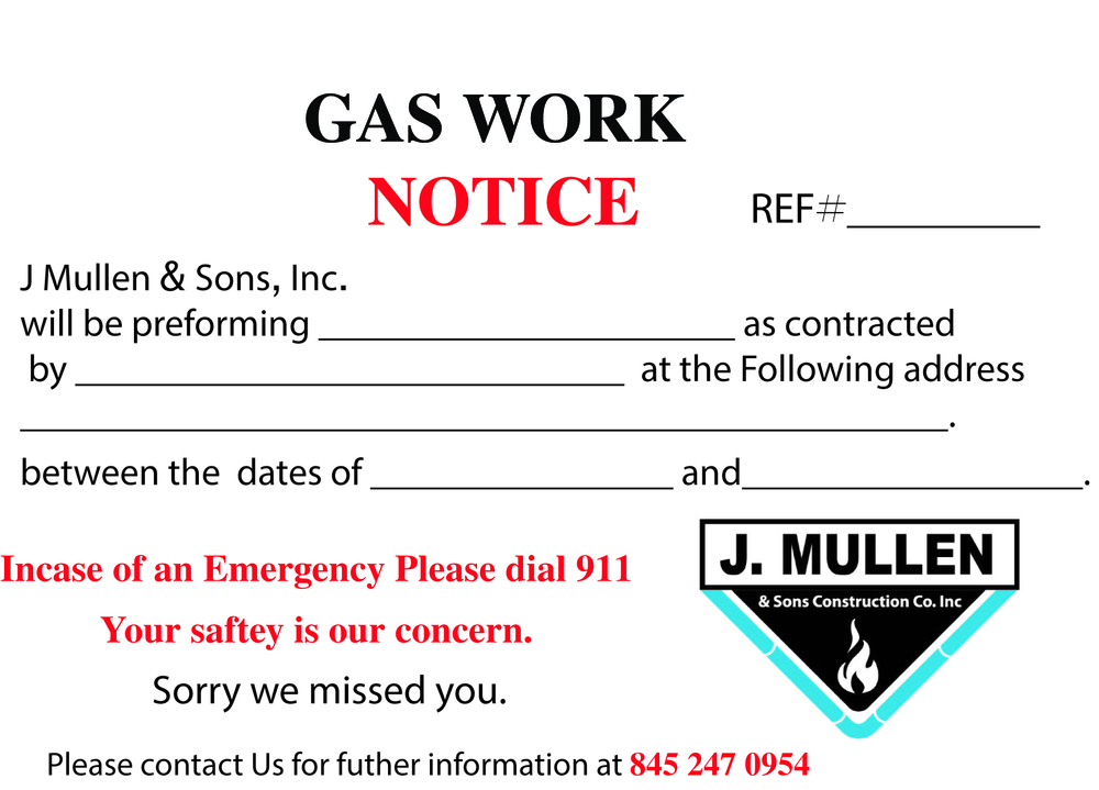 We apologize for any inconvenience as we are working around the clock to make these repairs safely and efficiently. Your safety and comfort is our main ...  sc 1 st  J.Mullen and Sons & Door Tag or PostCard? u2014 J.Mullen and Sons