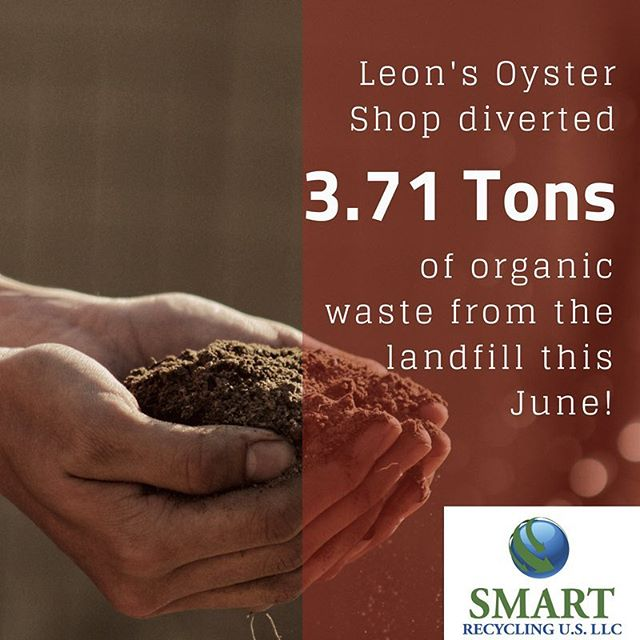 @leonsoystershop diverted over THREE TONS of waste from the landfill last month by composting! By diverting organic wastes to composting facilities, methane emissions from landfills are avoided and environmental impacts are reduced. We love having the opportunity to help local restaurants like the delicious Leon's Oyster Shop foster sustainable business practices.  #cheerstothat #charleston #local #zerowaste #organics #gogreen #sustainability