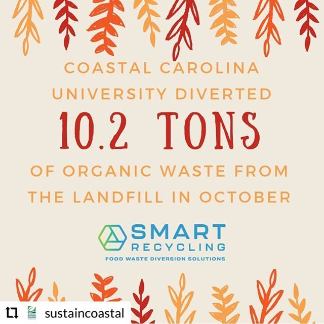 Way to go Coastal Carolina!  We love working with you to make the world a greener place and divert waste from our landfills! ♻️ Thanks @sustaincoastal for sharing the good work! . . . . #compost #reducereuserecycle #recyclefoodwaste #foodwaste #myrtlebeach #horrycounty #sustainability