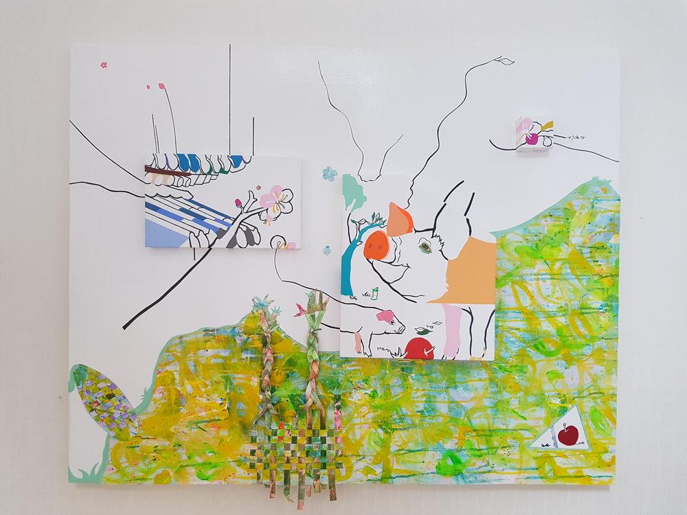 flower pig,72x90cm, acrylic on canvas, 2018.jpg