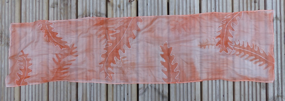 Orange fern silk scarf