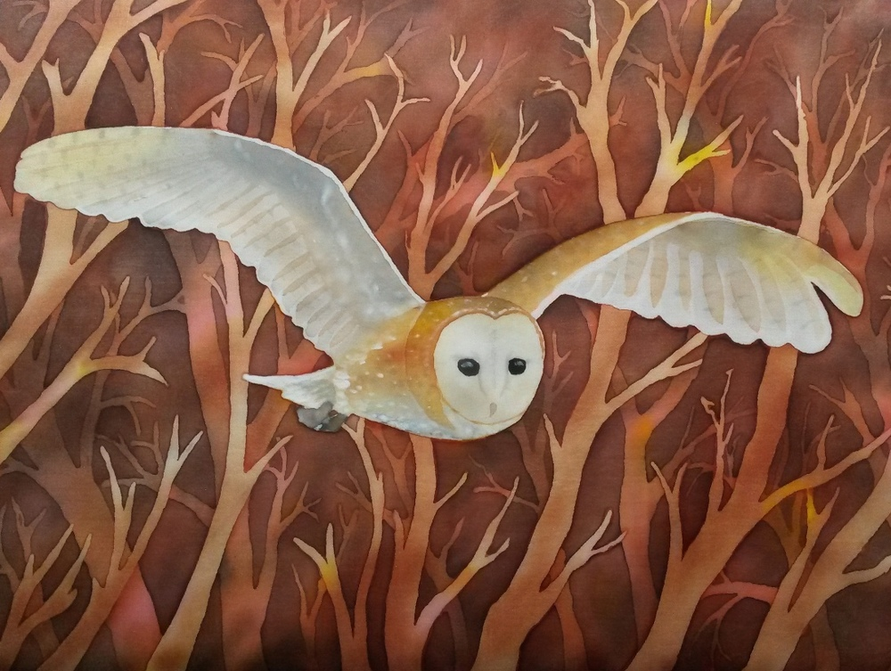 Barn Owl.  Original painting on silk.