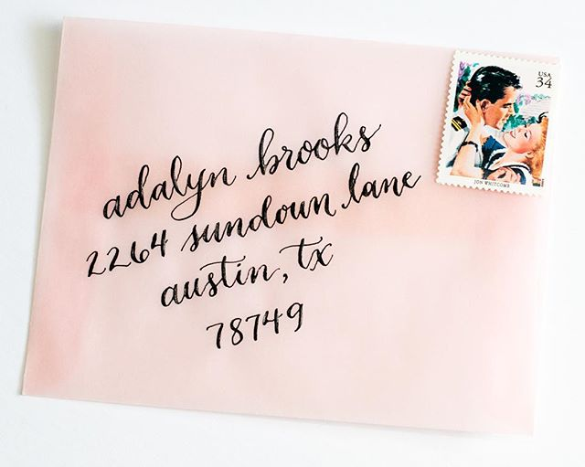 Dreamy pink velum envelopes for a lazy February afternoon. That stamp! The romance!