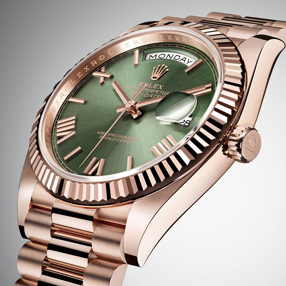 "Known as the ""presidents' watch"", the Oyster Perpetual Day-Date is celebrating its 60th anniversary in 2016. To mark this special occasion, it has been given a bright new dial in green, Rolex's hallmark colour.  This special version of the Day-Date 40 is available exclusively in 18 ct Everose or white gold. It features the characteristic fluted bezel associated with the model since 1956."