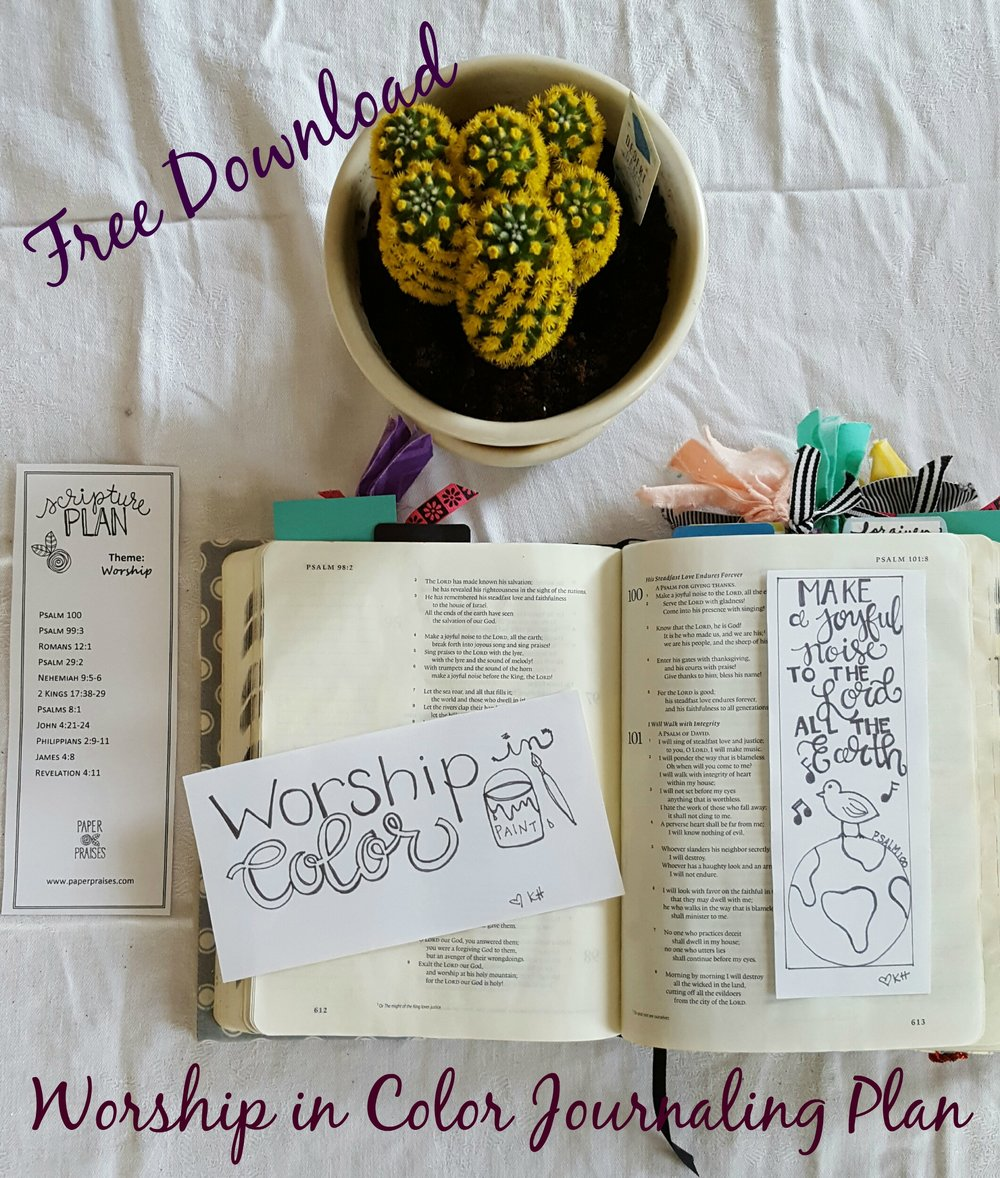 Click to Download a pdf of Worship in Color Journaling Plan + traceable artwork