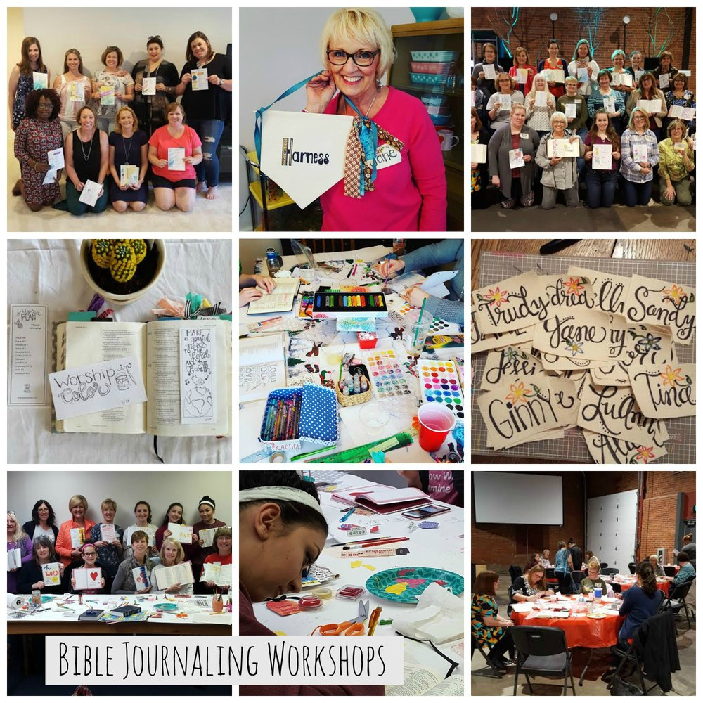 Pictures taken at some of the Paper Praises Bible Journaling or Art Workshops