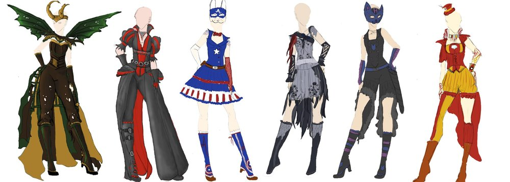 Sketches of AiW costumes by Maise Design Seamstress