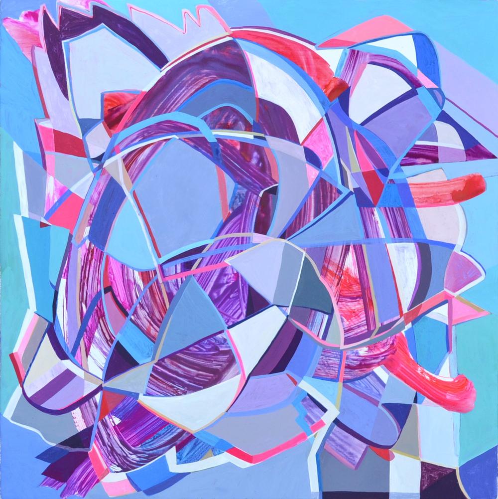 Danielle Kimzey, Anna and Elsa (2016), Gouache on panel, 16 x 16 inches