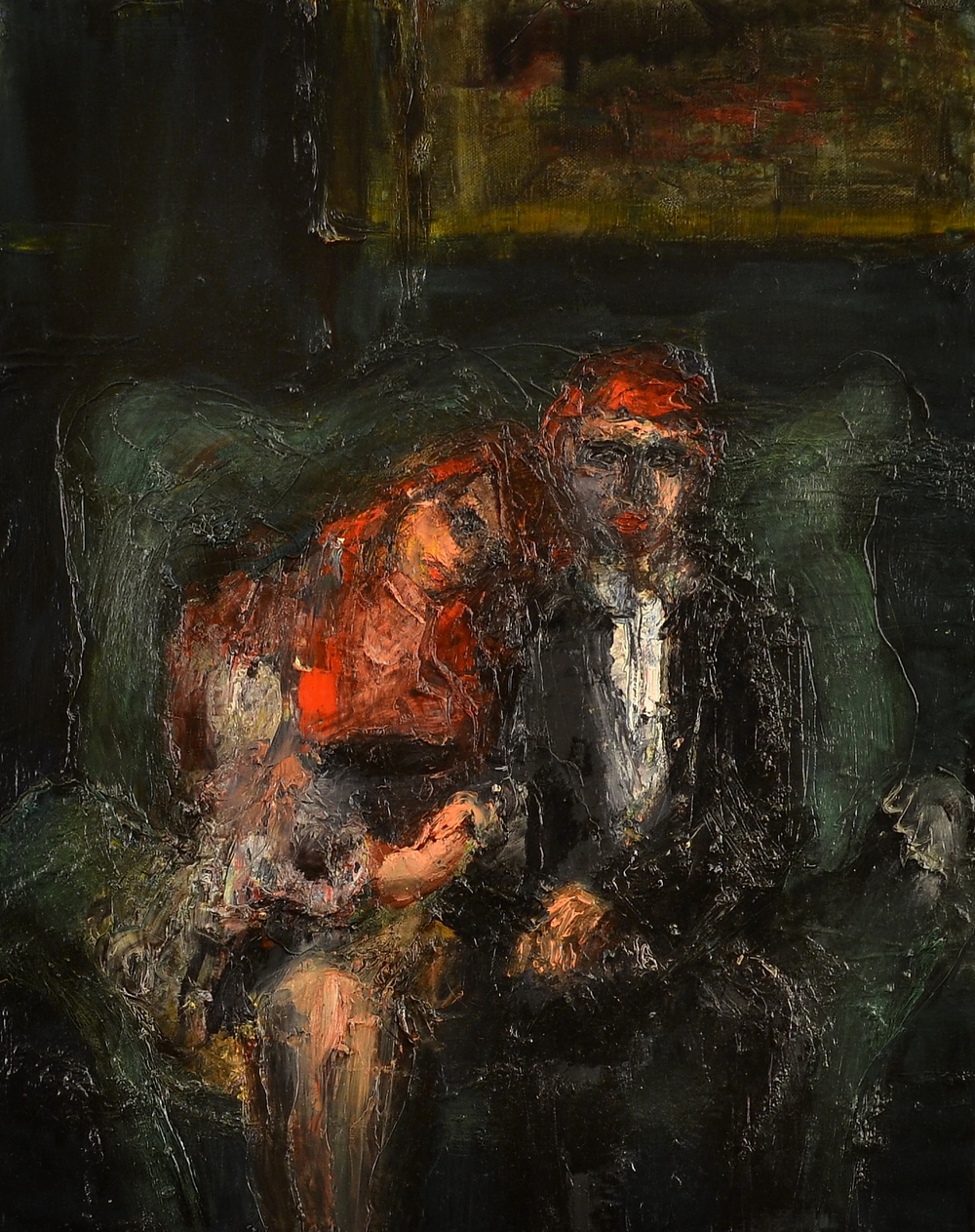 Seated Couple (Red), Oil on canvas, 20 x 16 inches