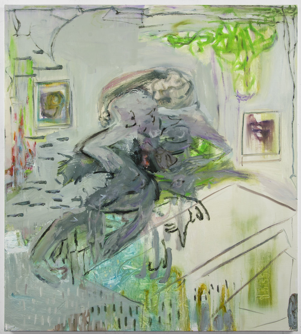 Julia Schwartz, Late night tussle while outside bullets fly, Oil on linen, 40 x 36 inches