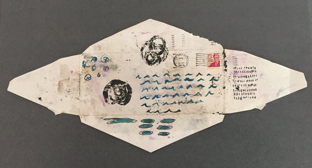 Julia Schwartz, Envelope 48.96, painted repurposed envelope