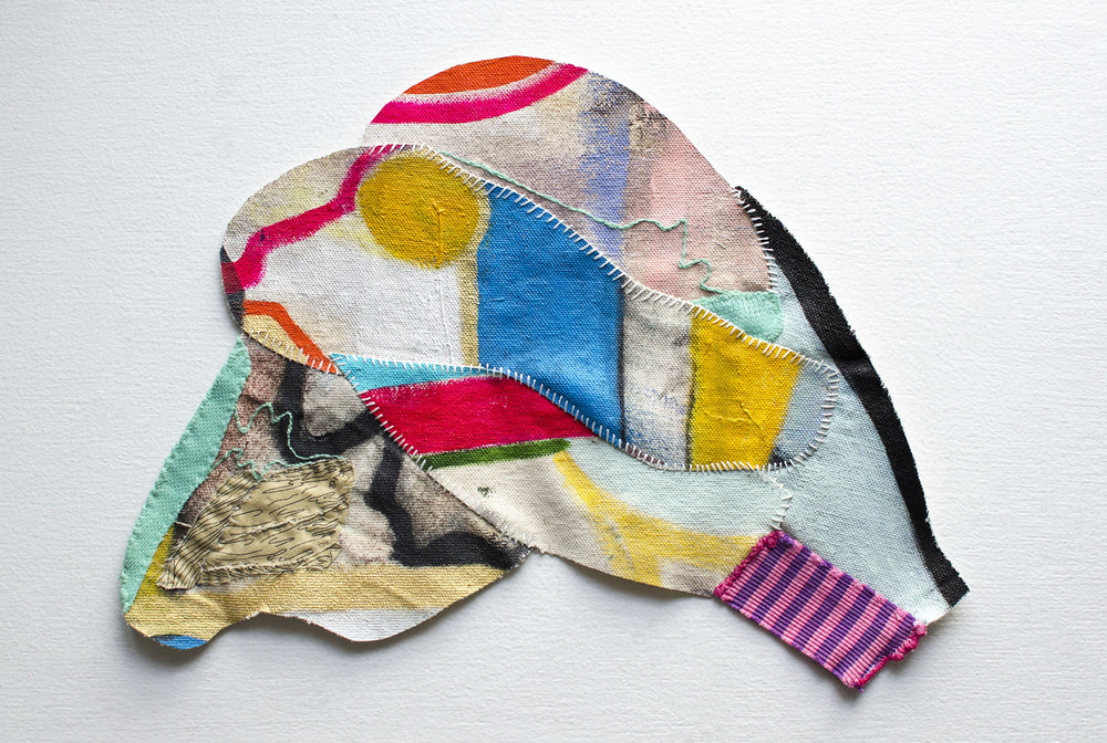 Emma Balder,  Pinglet No. 1  (2015), Acrylic, fabric, and thread on canvas, 10 x 13 inches